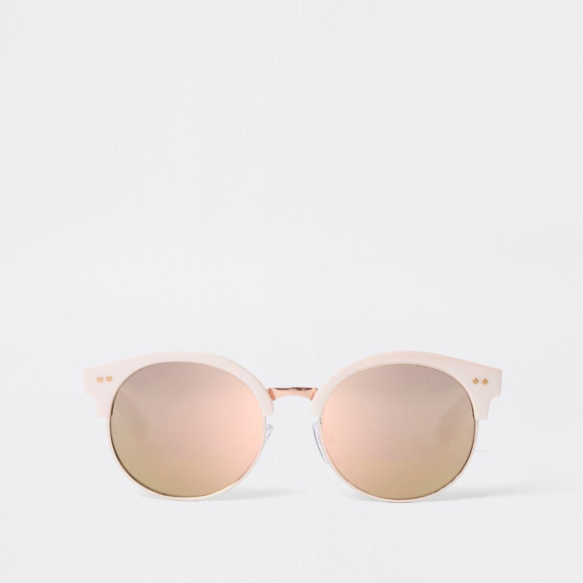 Girls pink retro mirror lens sunglasses