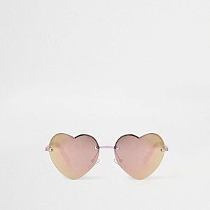 Girls pink heart mirror lens sunglasses