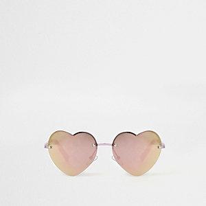 Hartvormige zonnebril met roze spiegelglazen voor meisjes