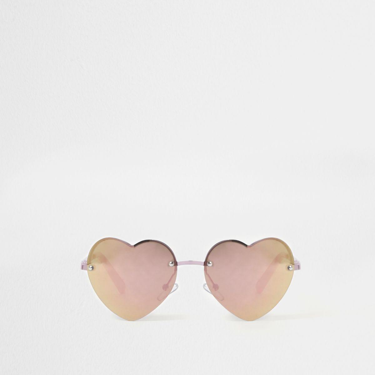 Lunettes de soleil verres effet miroir cœurs roses pour fille