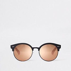 Girls black retro mirror lens sunglasses