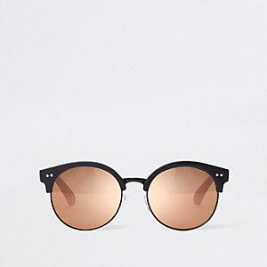 Zwarte retro zonnebril met spiegelglazen voor meisjes