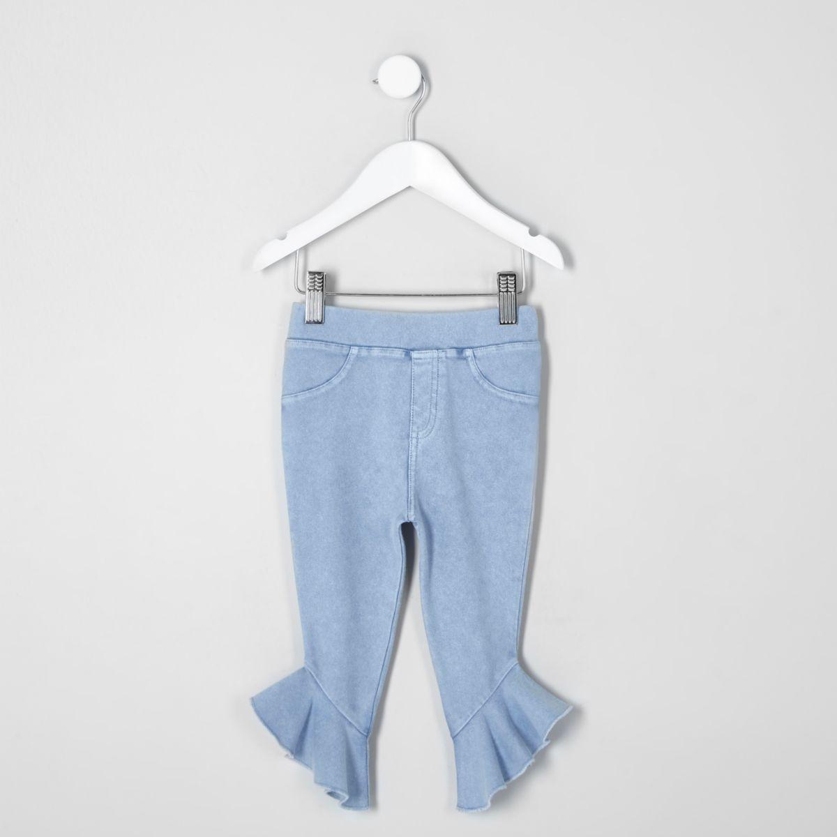 Mini girls blue denim look frill hem leggings