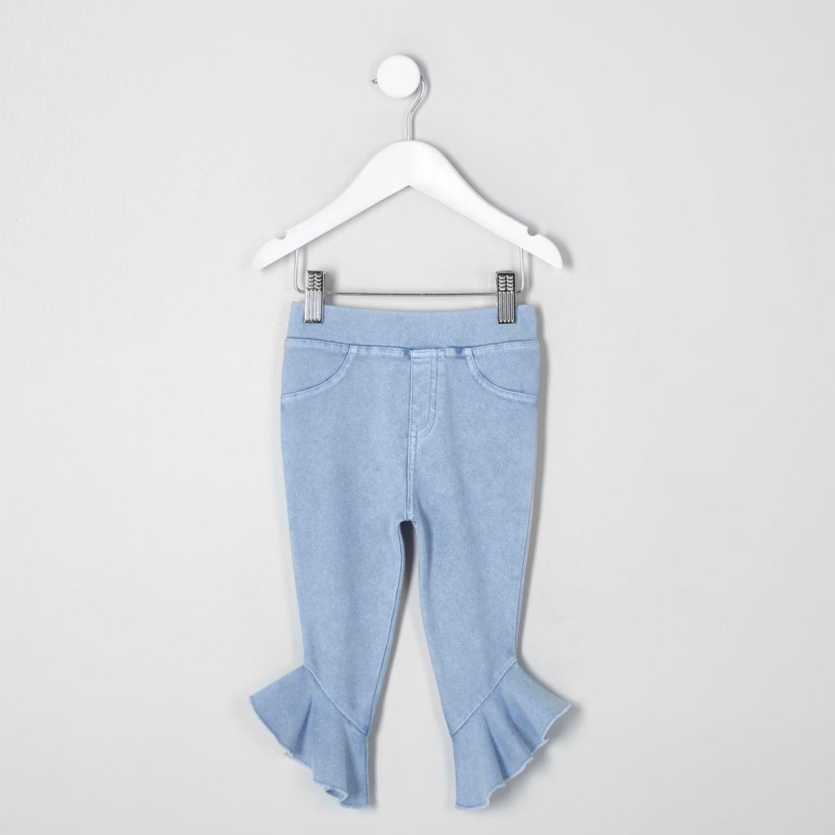Mini girls blue denim look frill hem leggings