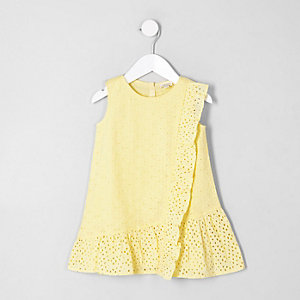 Mini girls yellow broderie peplum hem dress