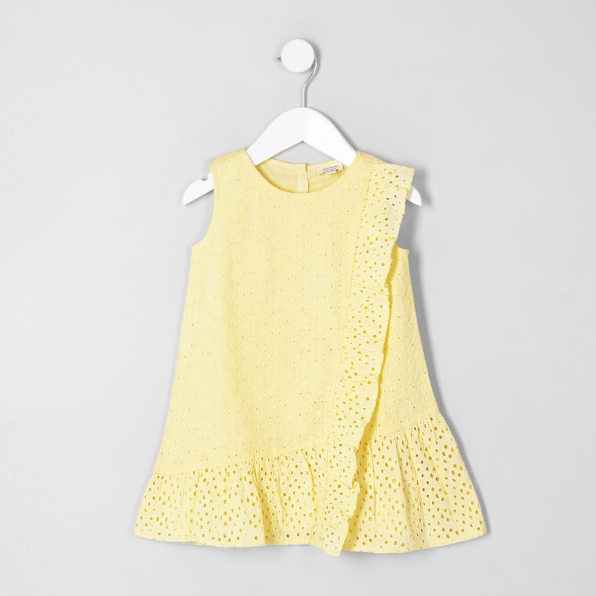 Mini girls yellow broderie dress