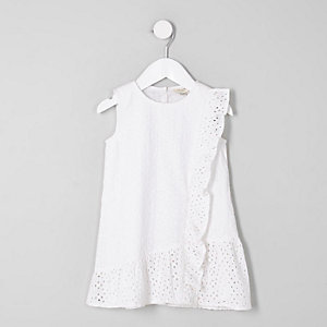 Mini girls white broderie frill peplum dress