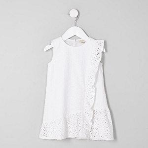 Mini - Witte geborduurde jurk met peplum voor meisjes