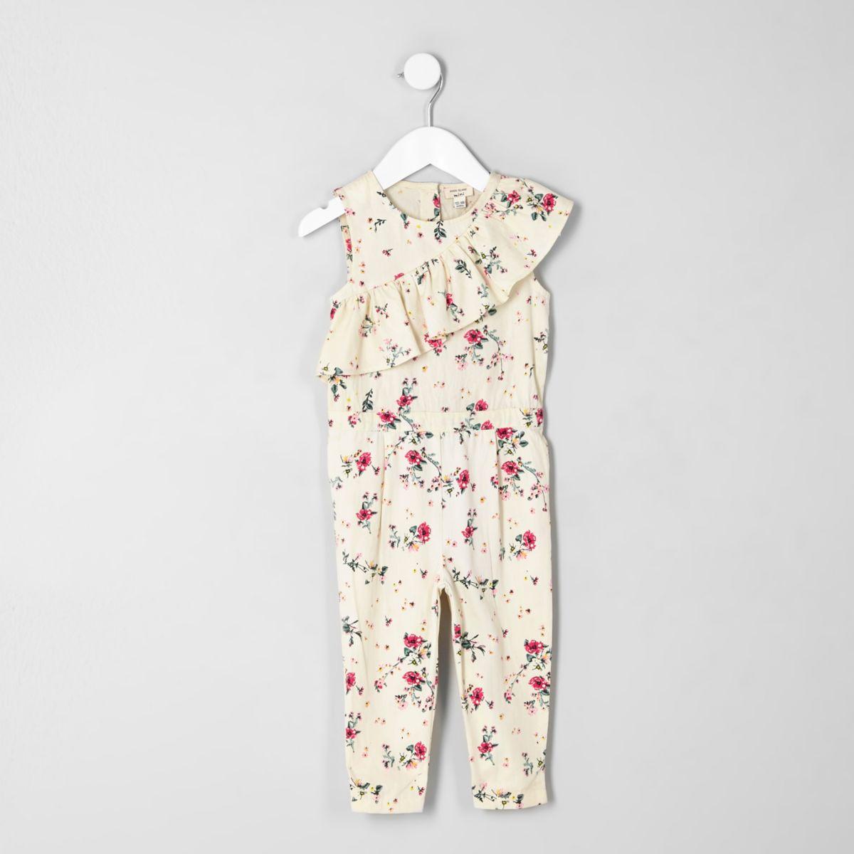 Mini girls cream asymmetric frill jumpsuit