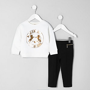 Mini girls white foil print sweatshirt outfit