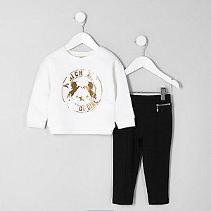 Mini - Outfit met wit sweatshirt met folieprint voor meisjes
