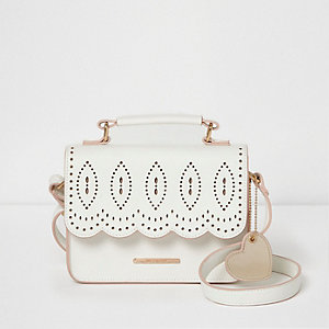 Girls white lazer cut scallop cross body bag