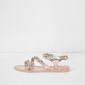 Girls light pink embellished strappy sandals