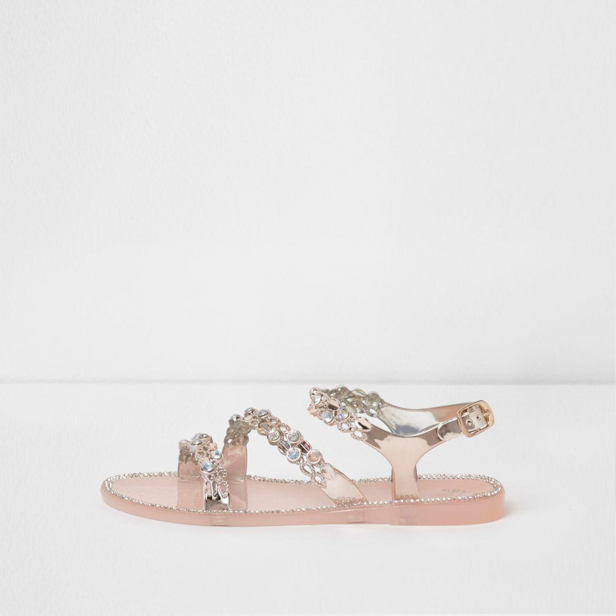 Girls light pink embellished strappy sandals