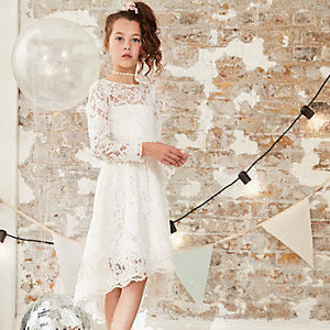 Girls white lace scallop embellished dress