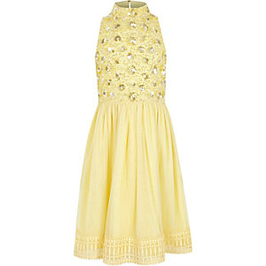 Girls yellow sequin mesh flower girl dress