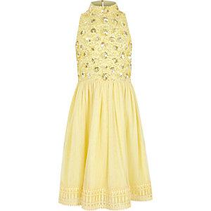 Gele gebloemde jurk met lovertjes en rok van mesh voor meisjes