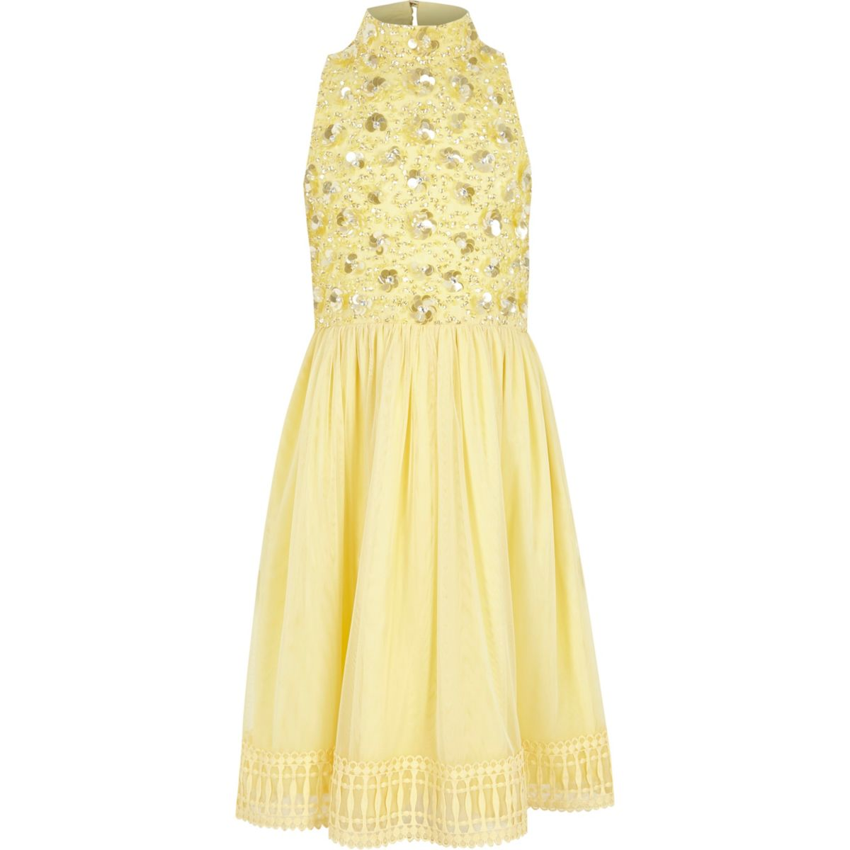 Girls yellow embellished flower girls dress