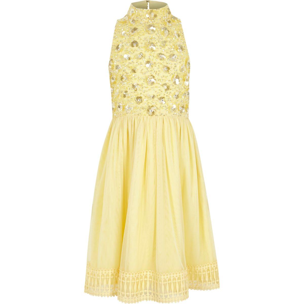 Robe de demoiselle d'honneur jaune à fleurs avec ornements pour fille