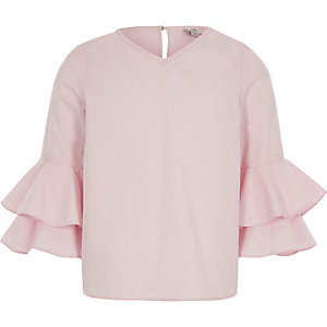 Girls pink long bell ruffle sleeve top