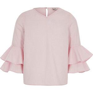 Roze lange top met ruches aan de mouwen voor meisjes