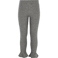 Girls grey dogtooth check frill leggings