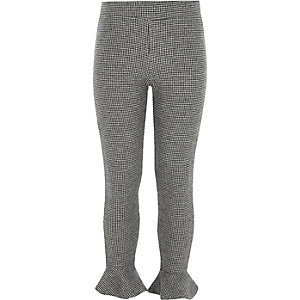 Girls grey houndstooth check frill leggings