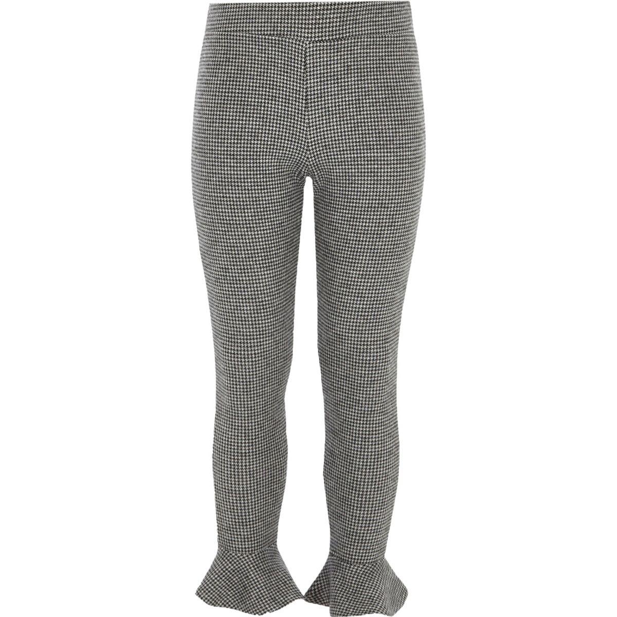 Girls grey dogtooth check frill leggings