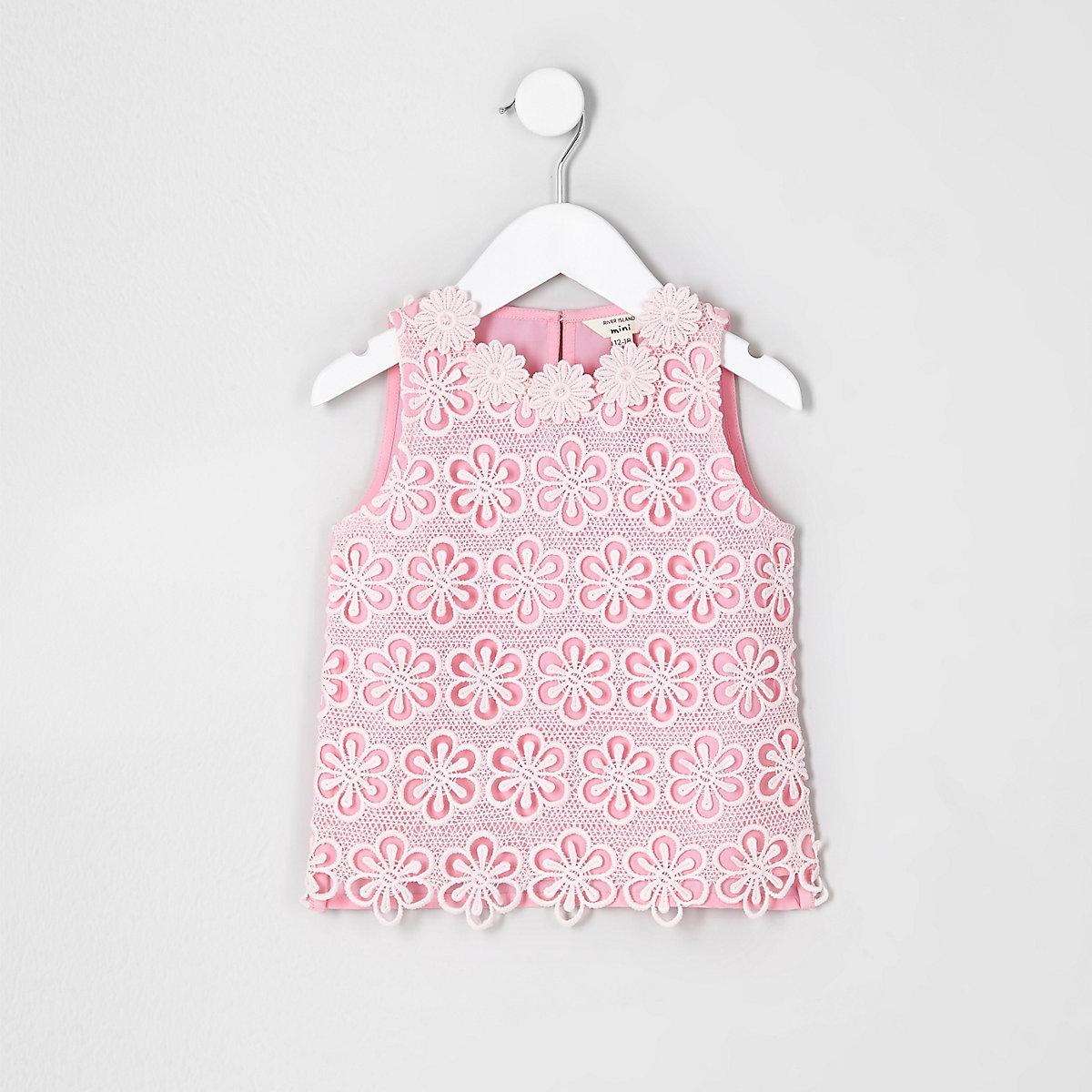 Mini girls pink crochet floral top