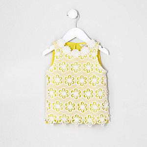 Mini girls yellow crochet floral top