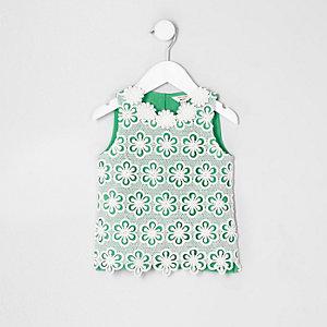 Top vert à fleurs au crochet mini fille