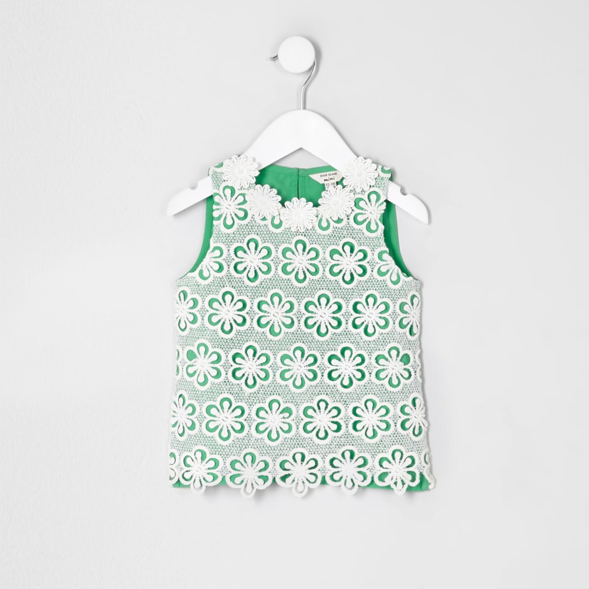 Mini girls green crochet floral top