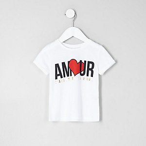 Mini girls white 'amour' print T-shirt