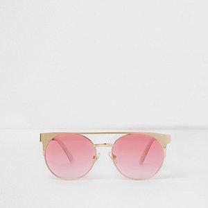 Goudkleurige zonnebril met roze brug voor meisjes