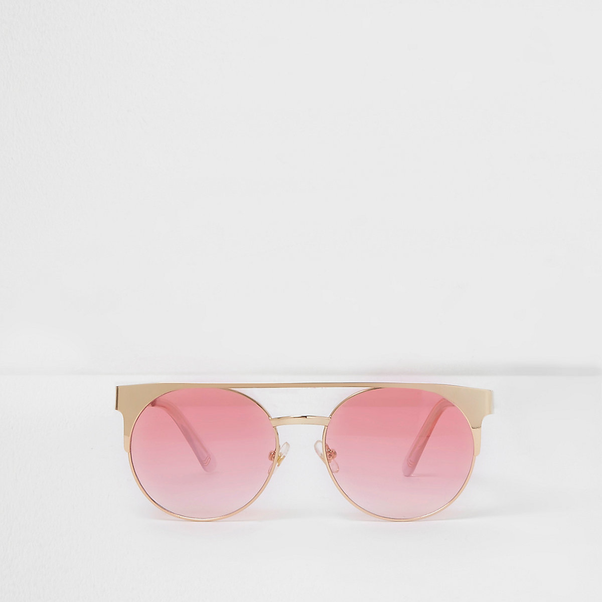 Girls gold tone and pink brow bar sunglasses