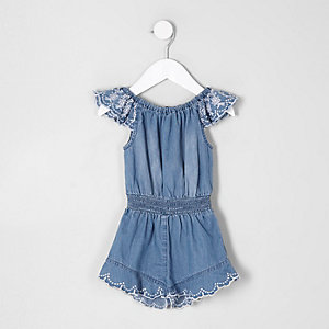 Mini girls blue broderie frill denim romper