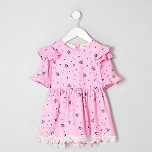 Mini - Roze jurk met ruches aan de schouders en bloemenprint voor meisjes