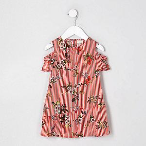 Mini - Rode schouderloze jurk met bloemenprint voor meisjes
