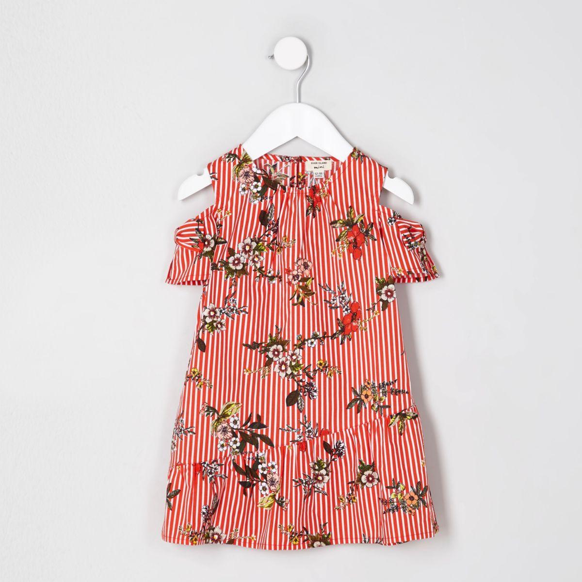 Mini girls red floral cold shoulder dress