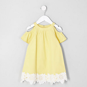 Mini girls yellow cold shoulder dress