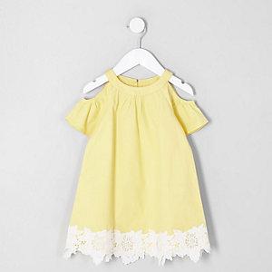 Mini - Gele schouderloze jurk voor meisjes