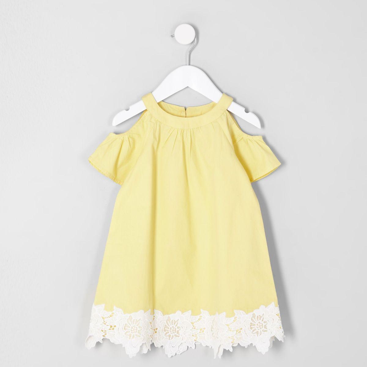 Mini girls yellow cold shoulder dress