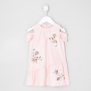 Mini girls pink floral cold shoulder dress