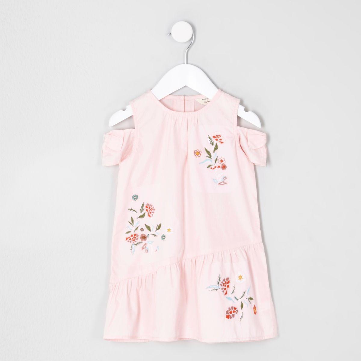 Robe à fleurs rose à épaules dénudées mini fille