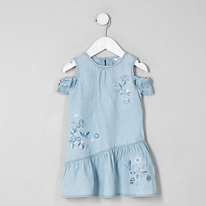 Mini girls blue cold shoulder denim dress