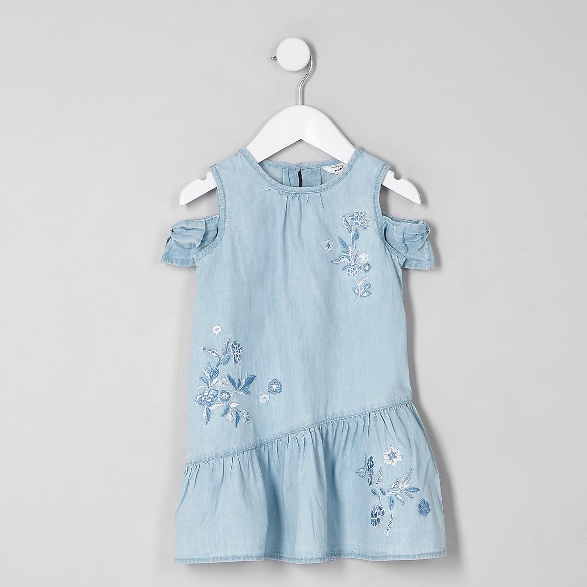 Mini girls blue cold shoulder denim dress
