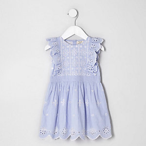 Mini girls blue broderie sleeveless dress