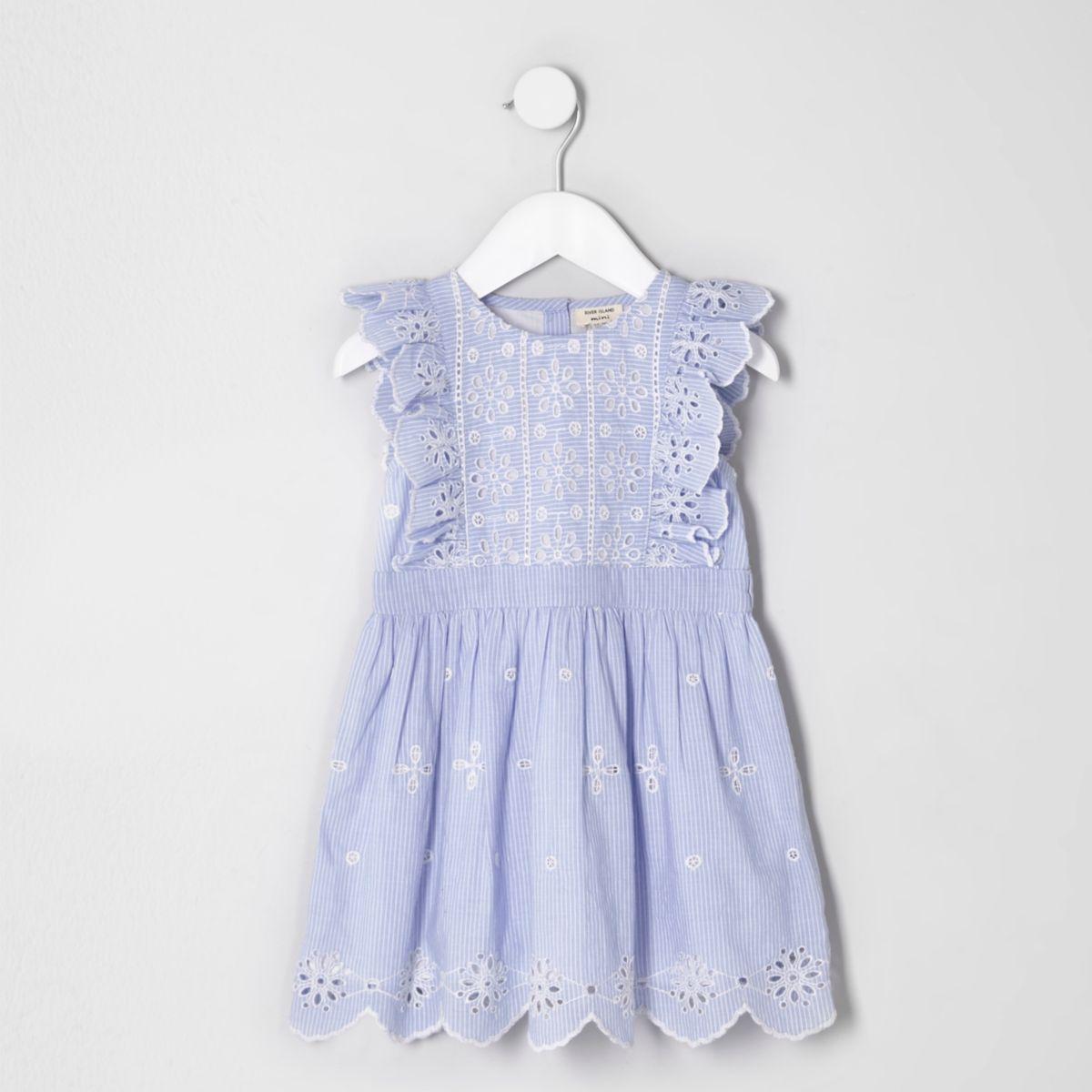 Mini girls blue broderie sleeveless dress