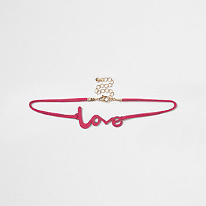 Roze 'love' chokerketting voor meisjes