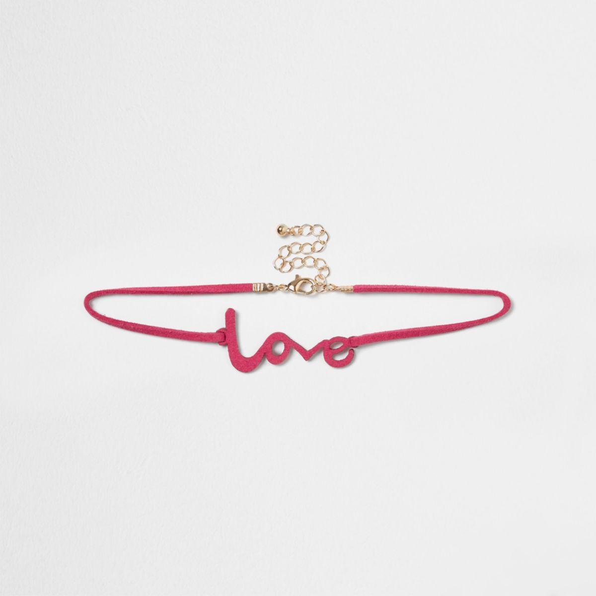 Ras-de-cou «love» rose pour fille